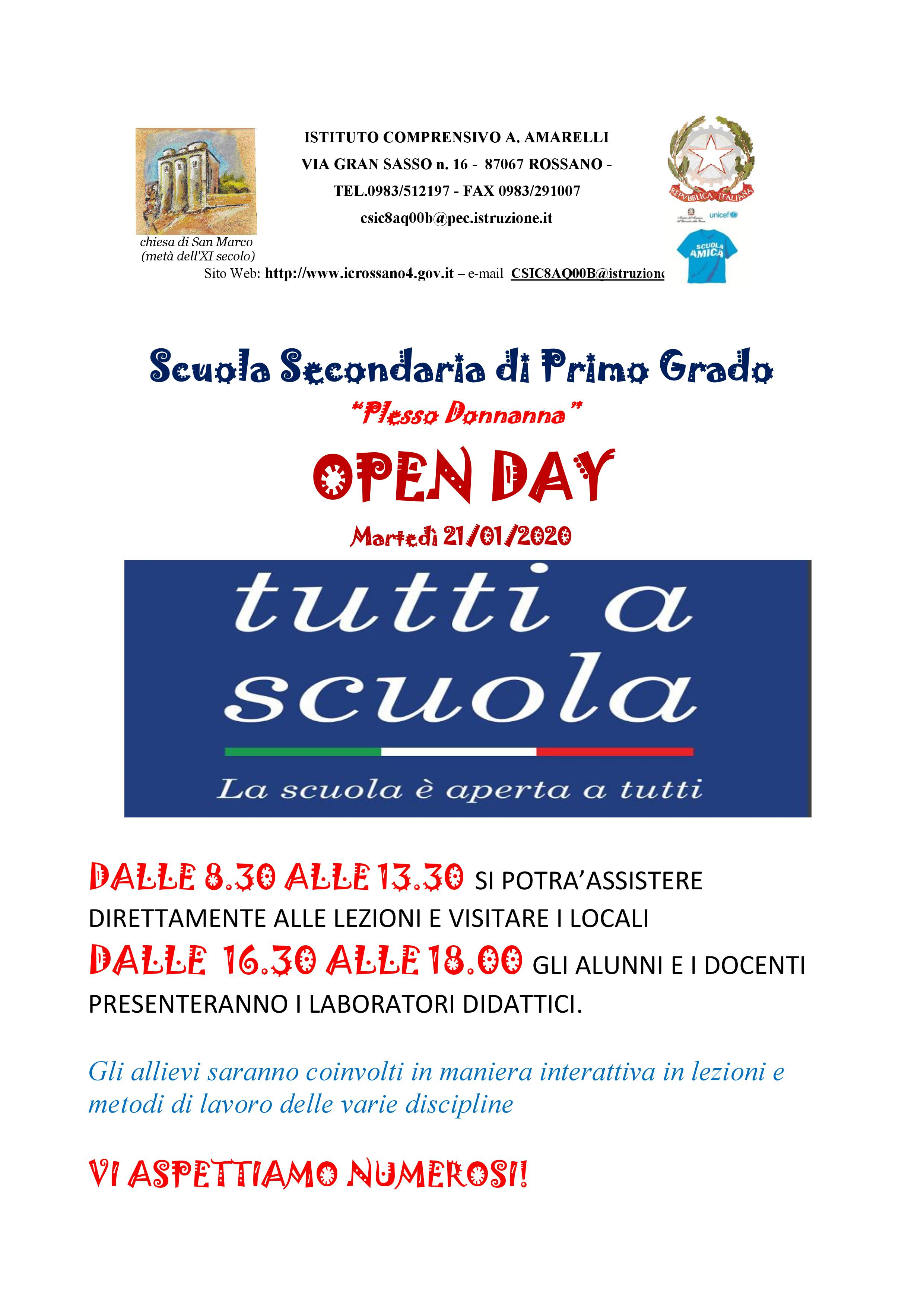 locandina open day Donnanna 19-20